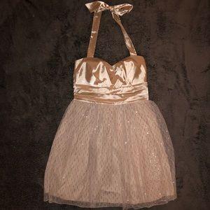 Lulus's Halter Top Empire Waist Mini Dress